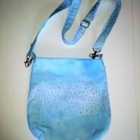 kleine Umhängetasche, hellblau mit zartem Blumenmuster Bild 4