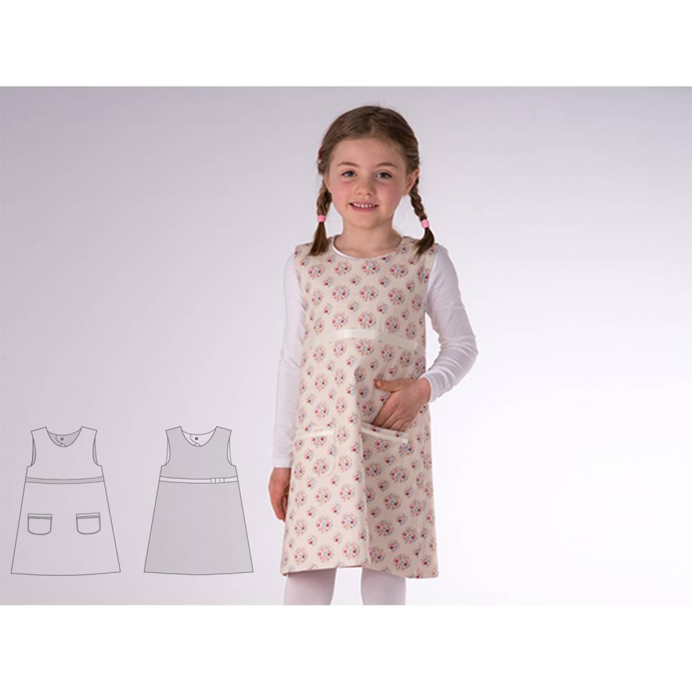 Baby Mädchen Tunika Wendekleid Schnittmuster pdf mit Tropfenausschnitt. Hängerchen mit Zierbändern und Taschen ELENA von Patternforkids Bild 1