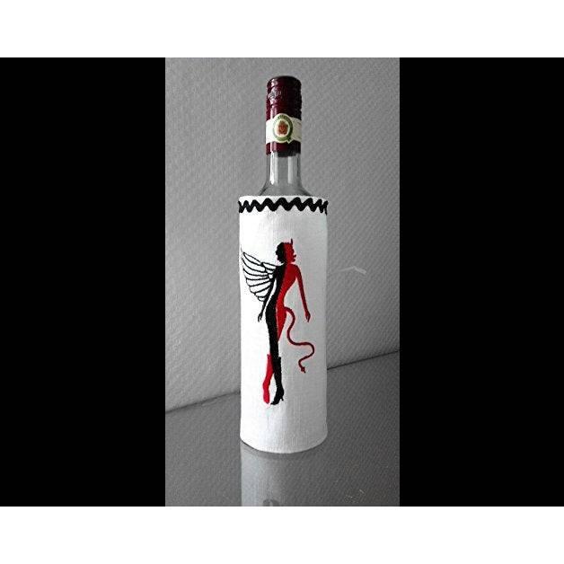 Flaschenmanschette Flaschenetikett Engel Teufel Leinen für Männer. Bild 1