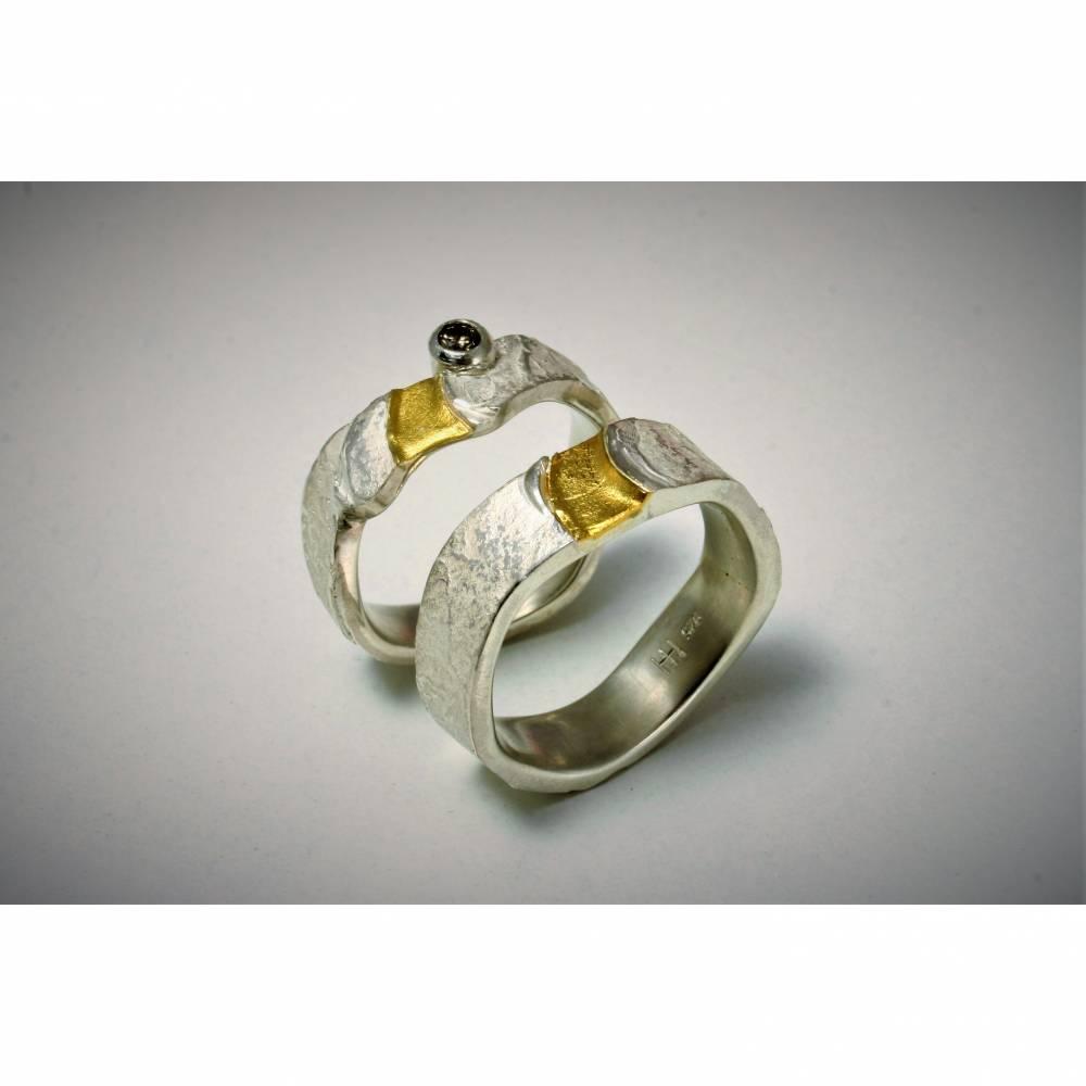 Paar-Ringe-Eheringe-Trauringe-Freundschaftsringe-Silber-Gold Ringe Bild 1