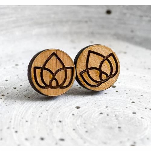 Geometrische Blüten Ohrstecker Holz