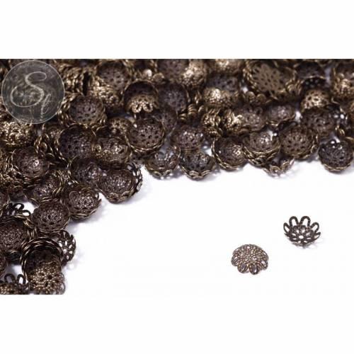 50 Stk. antik-bronzefarbene Perlenkappen 9mm