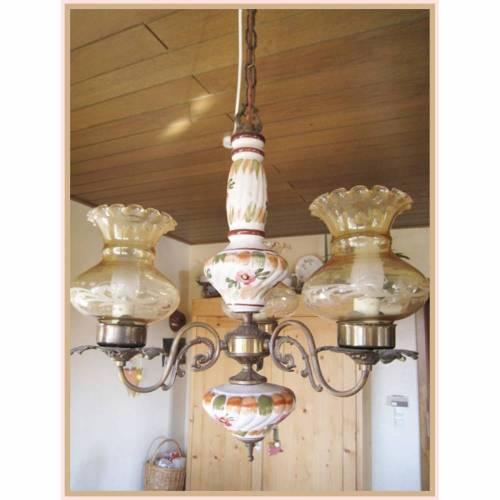 vintage handgemalte Deckenleuchte aus Keramik mit Glaseinsatz und Kerzenbirnen, 70er Jhr,