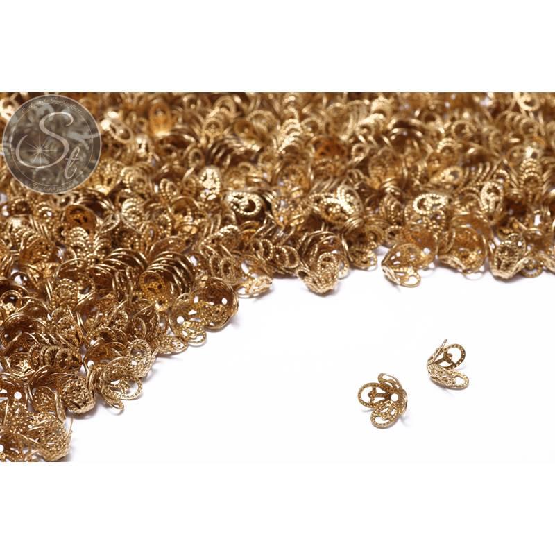 30 Stk. messingfarbene Perlenkappen ~8,5mm Bild 1