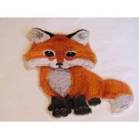 Applikation Baby Fuchs, gestickt, größe XL ca. 10 x 14,5 cm Bild 1