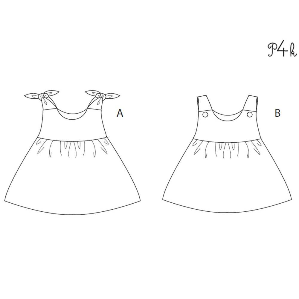 Baby Schürzenkleid Hängerchen Schnittmuster. Kleid für Mädchen und Babykleid Gr. 56 bis 98 als Papierschnitt LIPSIA von Patternforkids Bild 1