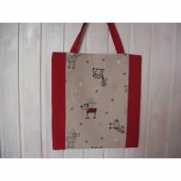 Einkaufstasche Einkaufsbeutel Elche rot beige Bild 1