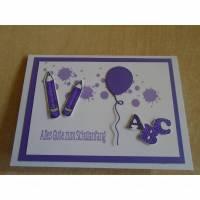 Glückwunschkarte zur Einschulung Schulanfang mädchen Junge Schulkarte Farbe nach Wahl Bild 1