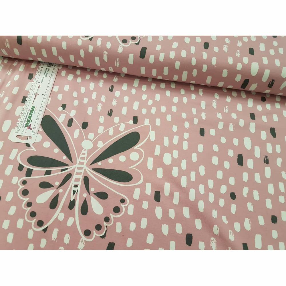 Jersey Paneel 55cm Painted Butterfly rosa Bild 1