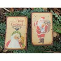 Set ~ 2 Deko - Karten ~ Weihnachtsmann ~ Weihnachtskarte * Weihnachte* Gußkarten * No.3 Bild 1