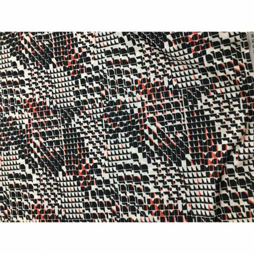 1,25 m Vintage Jersey Strick, grafisches Muster, ca. 1970er-Jahre, 100 % Polyester