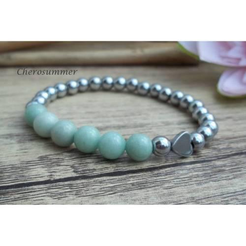 Armband Herz Hämatit Jade Mint