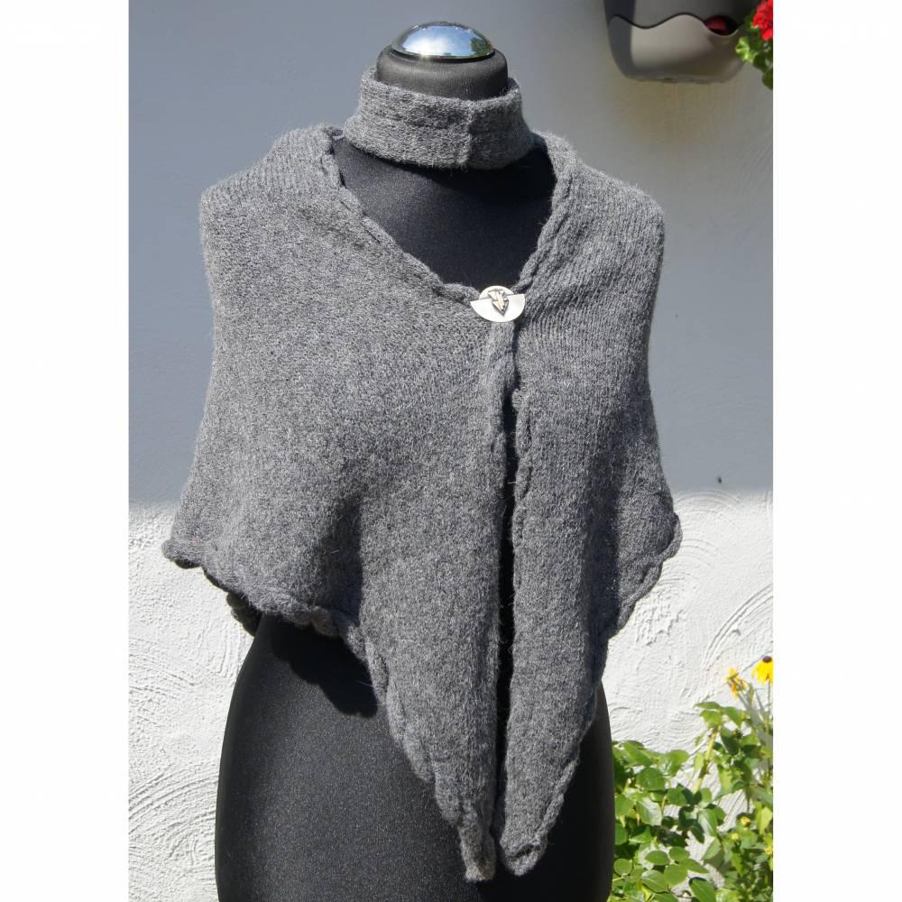 Dreieckstuch, Schultertuch, Halstuch, Schal, Hüfttuch gestrickt, grau mit Stirnband Bild 1
