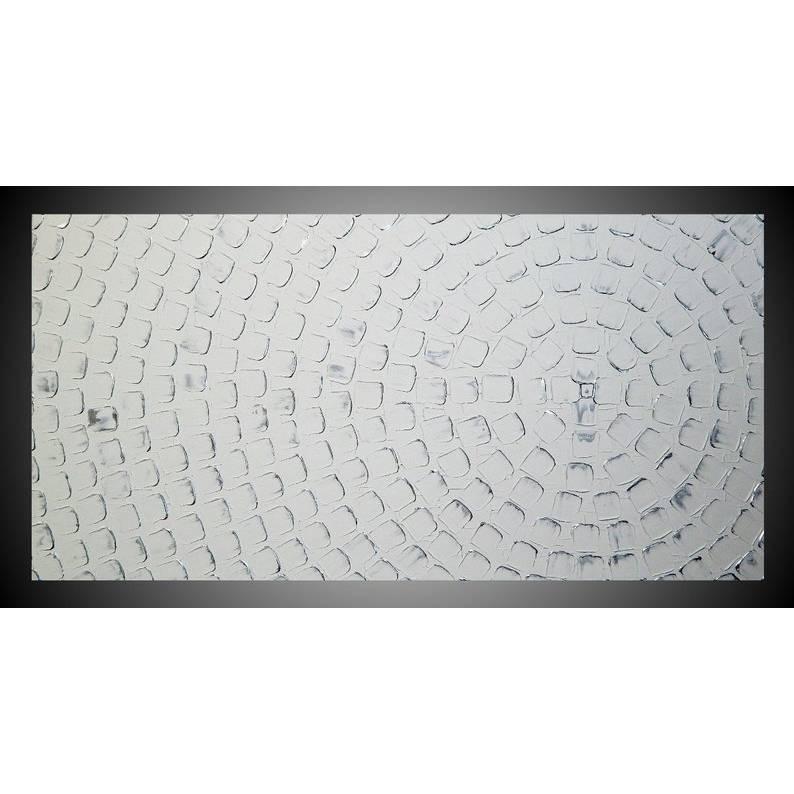 Acrylbild auf Leinwand, Acrylbild abstrakt, Bild Weiß Silber, Bild für Wohnzimmer oder Schlafzimmer, Wanddekoration Kunst Malerei Gemälde Modernes Bild by ilonka Bild 1