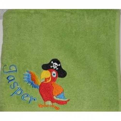 Piratenpapagei, gestickt, Duschtuch, personalisiert inkl. Wunschname, Baumwollhandtuch, individuell, von Dieda