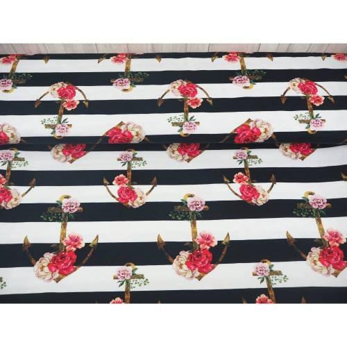 Jersey Anker schwarz weiß Blumen, Swafing Theo, Rosen Blockstreifen maritim, Stoff Meterware Damenstoff Damenjersey
