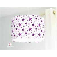 Lampe für Mädchen und Kinderzimmer mit Sternen in Lila auf Weiß aus Baumwollstoff - alle Farben möglich Bild 1