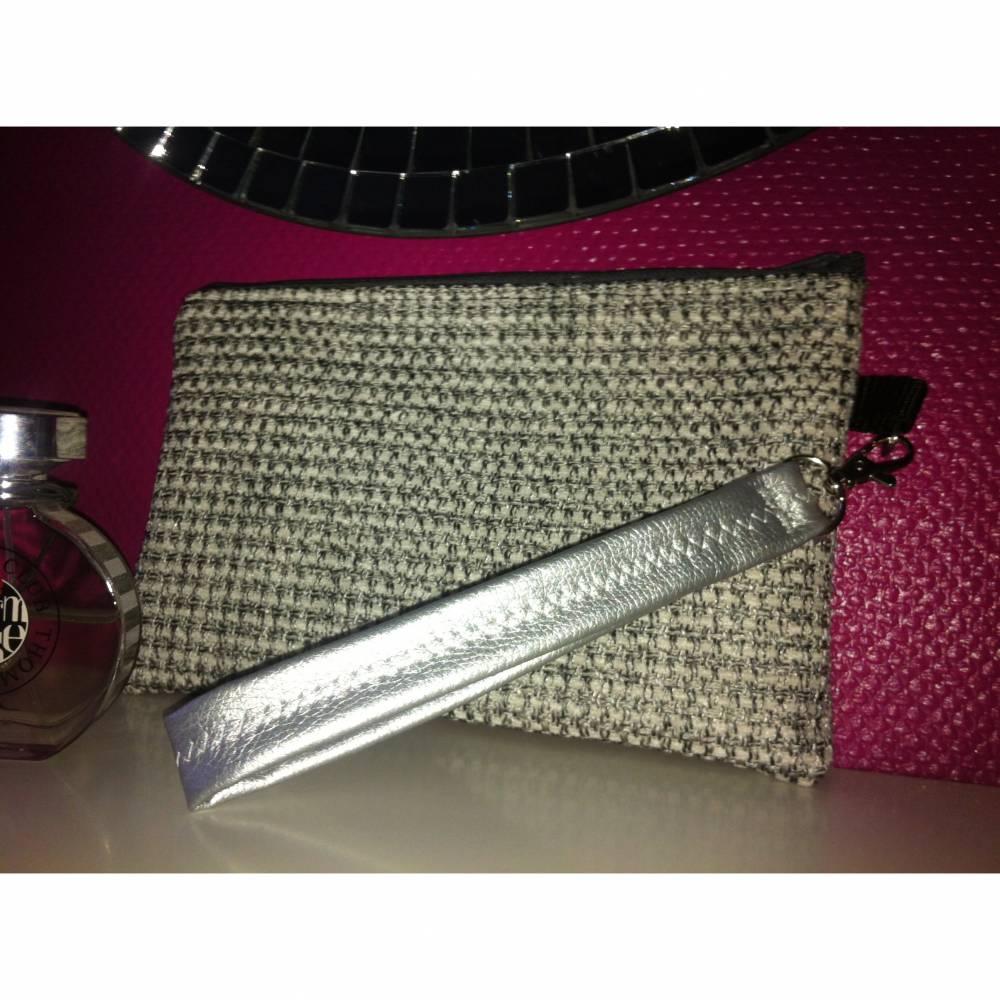 Clutch Abendtasche Silber Handtasche Universaltasche Kosmetiktasche Pochette Bild 1