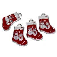 Nikolausstiefel mit Schneemännern rot, 4 Stück, Anhänger Bild 1