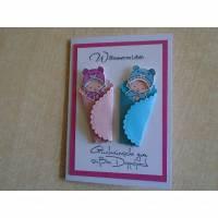 Glückwunschkarte zur Geburt  Taufe Zwillinge Mädchen und Jungen  Geburtskarte Babykarte  Glückwunsch Taufkarte,Grußkarte Bild 1