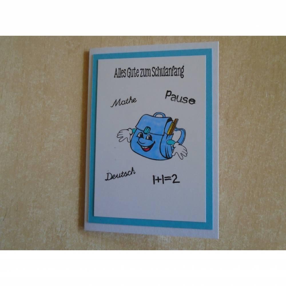 Glückwunschkarte zur Einschulung Schulanfang Jungen Schulkarte Schule Einschulungskarte Bild 1