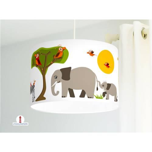 Lampe fürs Kinderzimmer mit Safari Tieren aus Baumwollstoff - alle Farben möglich