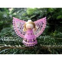 Engel geklöppelt Farben rosa und gold Handarbeit Klöppelspitze Bild 1