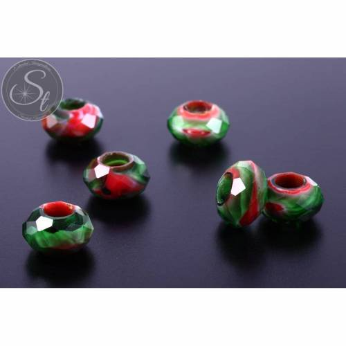 2 Stk. facettierte European Millefiori Glas Perlen ~14-15mm