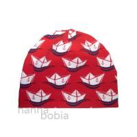 Babymütze, Kopfumfang 37-38 cm, maritim, Boote auf rot Bild 1