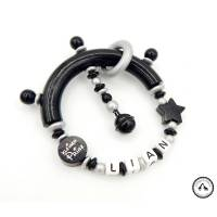 Greifling/Greifring mit Namen - Kleiner Prinz/Stern in schwarz/silber Bild 1