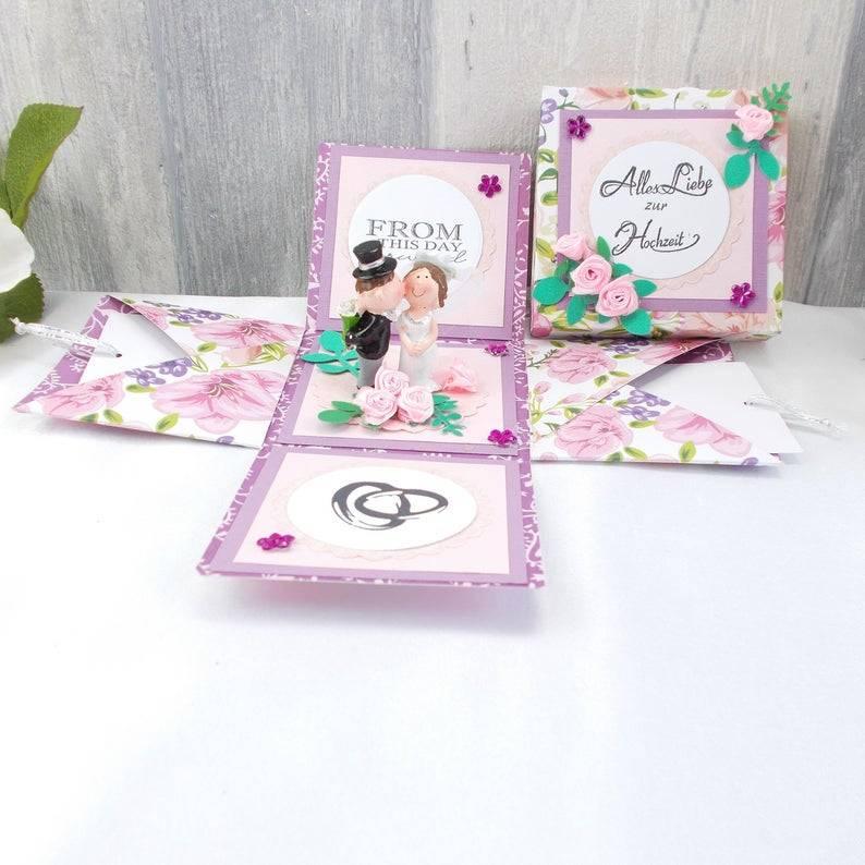 Explosionsbox Hochzeit, Explosionsbox, Hochzeitsgeschenk, Geldgeschenk Hochzeit, rosa  Bild 1