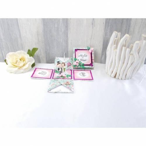 Explosionsbox Hochzeit, Explosionsbox, Hochzeitsgeschenk, Geldgeschenk Hochzeit, rosa grün
