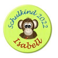 Button Schulkind, personalisiert, Schultüte, Affe, Wunschtext, Wunschnamen Bild 1