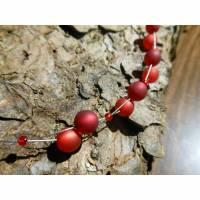 Neu unikat rot bordeaux Halskette Collier Polaris perlen kette Polariskette Bild 1