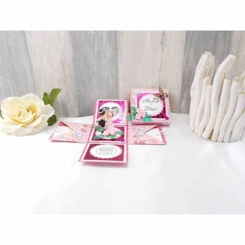 Explosionsbox Hochzeit, Explosionsbox, Hochzeitsgeschenk, Geldgeschenk Hochzeit, Geldgeschenk, rosa rot