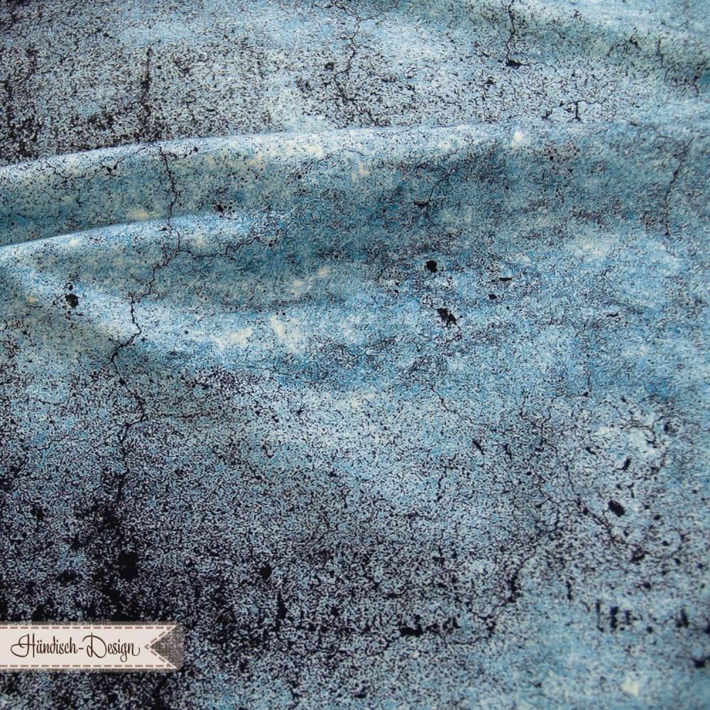 "0,50m Sweat/French Terry ""Grey Stone"" Betonoptik türkis/schwarz Swafing Bild 1"