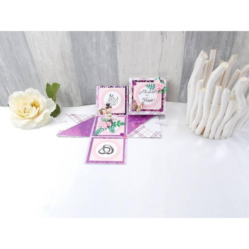 Explosionsbox Hochzeit, Explosionsbox, Hochzeitsgeschenk, Geldgeschenk Hochzeit, Geldgeschenk,  lila  Bild 1