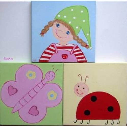 """Dreiteiliges Bild """"kleines Wichtelmädchen""""  fürs Kinderzimmer, Kinderzimmerbild Geschenk Taufe/Geburt/Patenkind"""