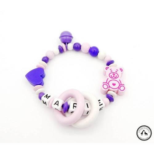 Greifling/Greifring mit Namen - Herz/Teddybär in lila/rosa/weiss mit Glöckchen - Neu und individuell -