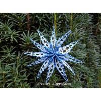 Klöppelstern 6 in Blautönen Durchmesser ca. 10 cm Christbaumschmuck handgeklöppelter Stern Faltstern Bild 1