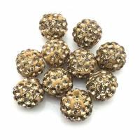 Shamballa Perlen 10mm, Hellbraun Bild 1