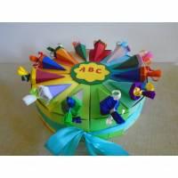 Torte zur Einschulung Schulanfang Geldgeschenk Junge  oder Mädchen Schachteltorte Papiertorte Verpackung 1Schultag Schule Schultorte