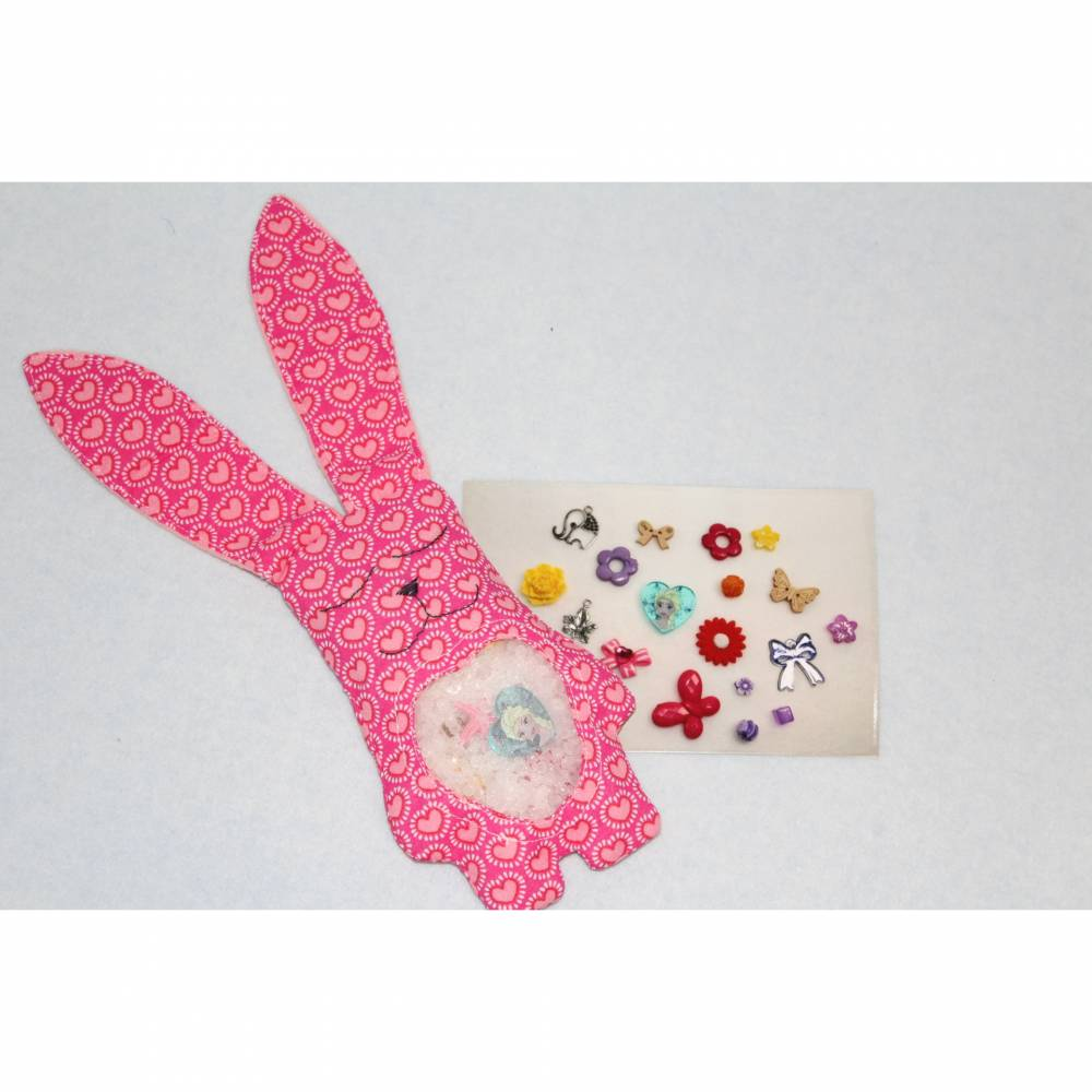 Suchhäschen rosa/Herzen, Suchkissen, Entdecker Spielzeug, Motorik, Feinmotorik, Babyspielzeug 20-14 Bild 1