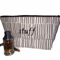 Kulturtasche Rasierzeugtasche Waschtasche Canvas mit Stickerei STUFF * Einzelstück * Bild 1