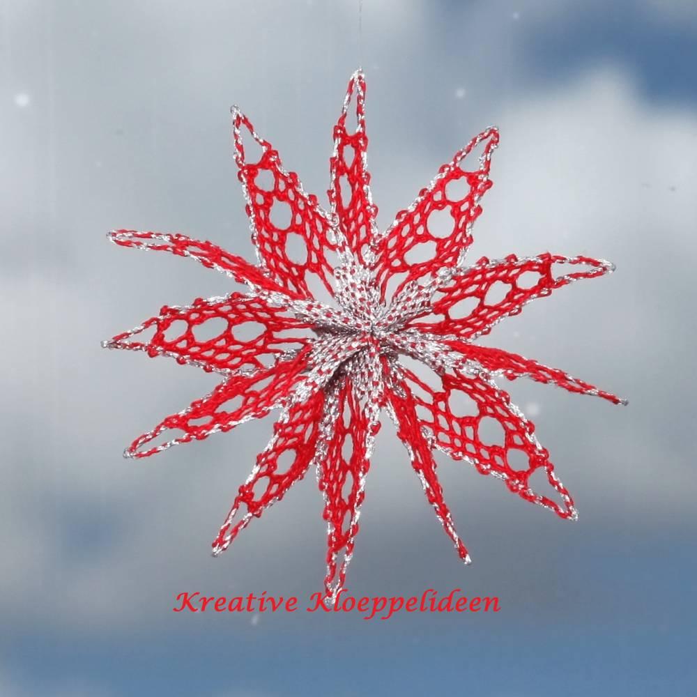 Klöppelstern 6 in den Farben rot und silber Durchmesser ca. 10 cm Christbaumschmuck handgeklöppelter Stern Faltstern Bild 1