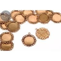 2 Stk. runde antik-goldfarbene Cabochon-Fassungen 35mm Bild 1