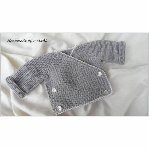 Strickjacke, Babyjacke, Babywickeljacke handgestrickt aus Wolle Merino