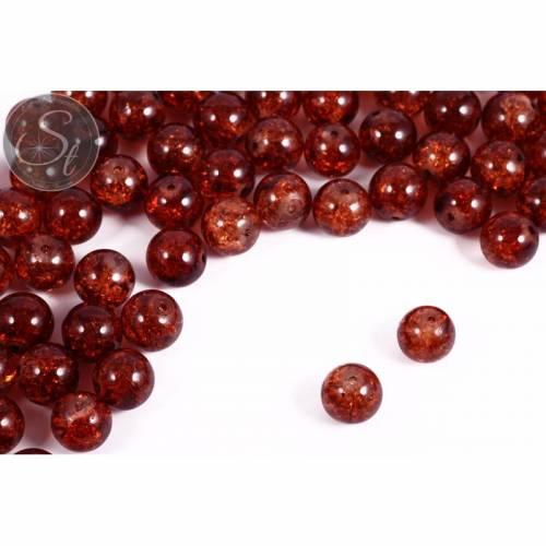 10 Stk. braune Crackle Glas Perlen 12mm