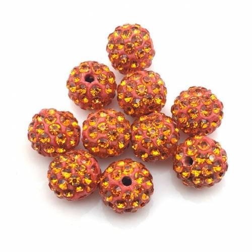 Shamballa Perlen 10mm, Orange