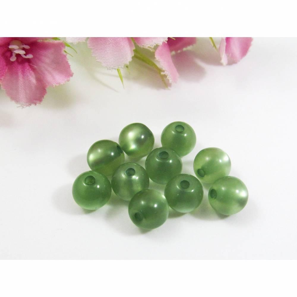 10 Polarisperlen glänzend, Farbe patina-grün Bild 1